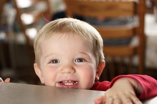 Lucas Peeking Over Counter