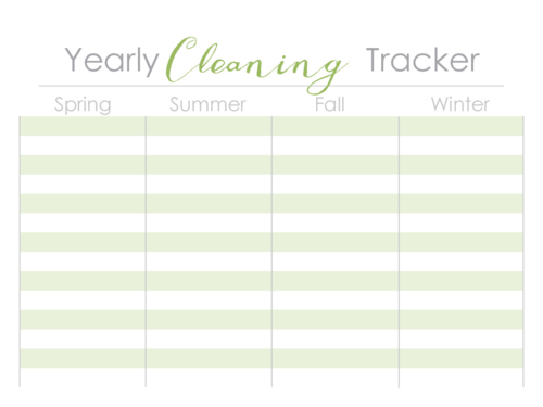Yearly Cleaning Tracker
