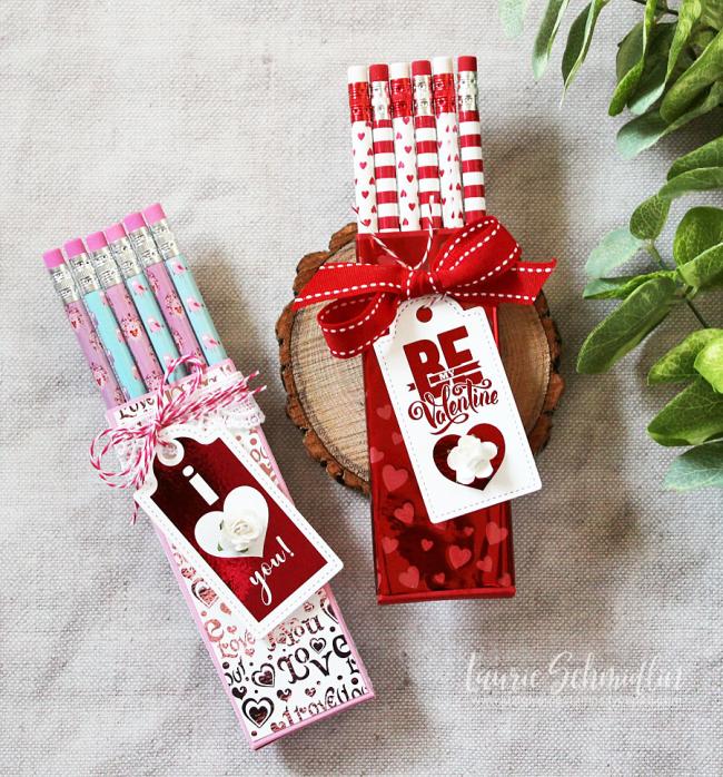 Valentine's Foil Mates Pencil Boxes by Laurie Schmidlin