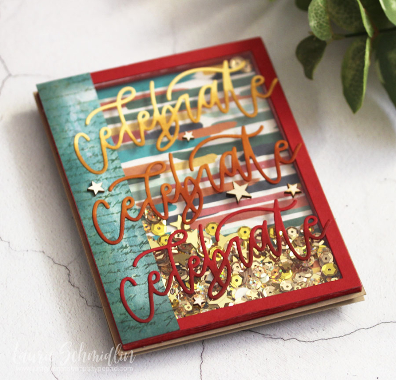 Celebrate Shaker Card (detail 2) by Laurie Schmidlin